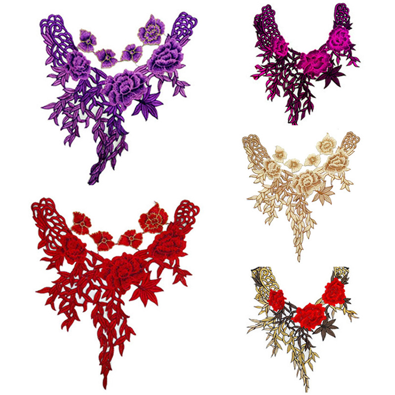 Fashion Embroidered Lace Cloth Stickers Clothes Patch Accessories Water Soluble Mesh Collar Flower 2019 New Arrival