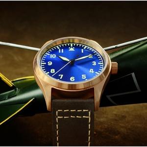 Image 2 - San Martin Men Bronze Mechanical Pilot Watches Luminous dial Scale 200m Waterproof Sapphire Glass Leather Strap Male Wrist watch