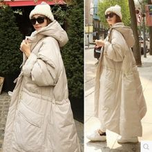 Женское зимнее хлопковое пальто длинная свободная утепленная