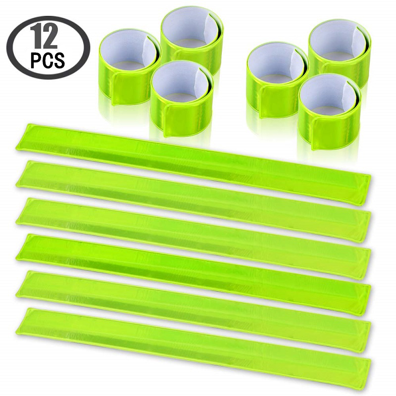 12PCS Reflective Bands High Visibility Reflector Bands Night Safety Reflective Slap Bracelet For Running Cycling Walking