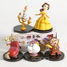 WCF personajes clásicos de la Bella y La Bestia, Vol.4, Belle Mini, figuras coleccionables de PVC, juguetes, 5 unidades