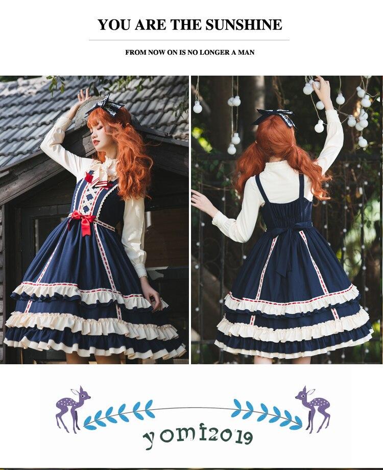Verão do vintage azul vermelho lolita jsk