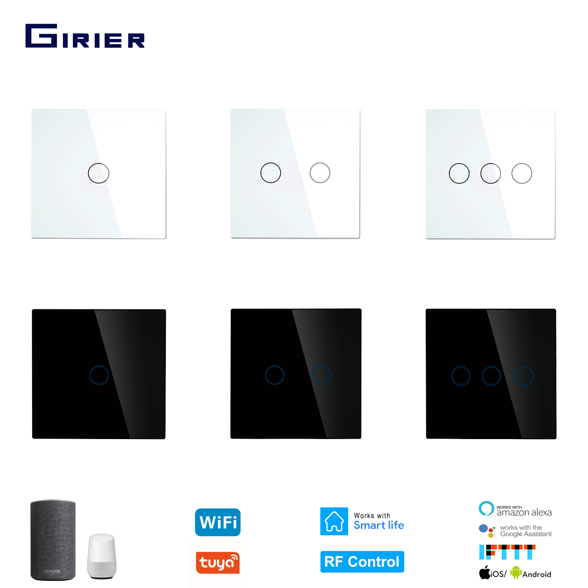 Wifi Wall Touch Switch EU No Neutral Wire Required Smart Light Switch Tuya RF433 Smart Home Controller Support Alexa Google Home
