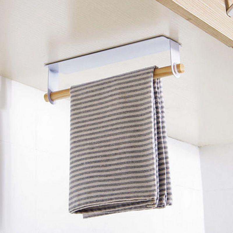 Adhesive Paper Towel Wooden Holder Storage Rack Organizer Tissue Shelf Under Cabinet Cupboard For Kitchen Bathroom Home