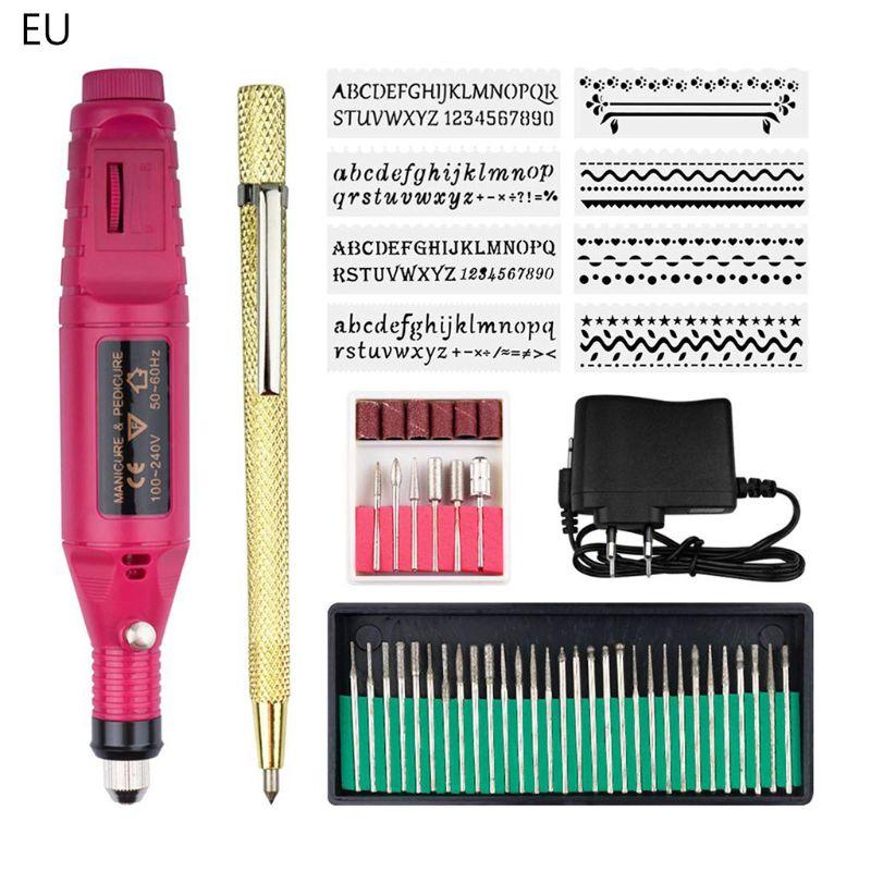 Aletler'ten Elektrikli Matkaplar'de 53 adet/takım Mini elektrikli gravür kalem ayarlanabilir hız DIY gravür aracı kiti title=