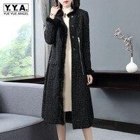 England Style Women Tassel Long Sleeve Tweed Coat Elegant Luxury Straight Slim Fit Covered Button Overcoat Black Trench Coat