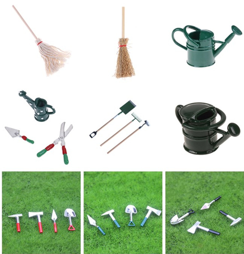 DIY <font><b>Miniatura</b></font> Metal Watering Can Spade Rake Garden Tools For Children Dolls House Miniatures Accessories Set image