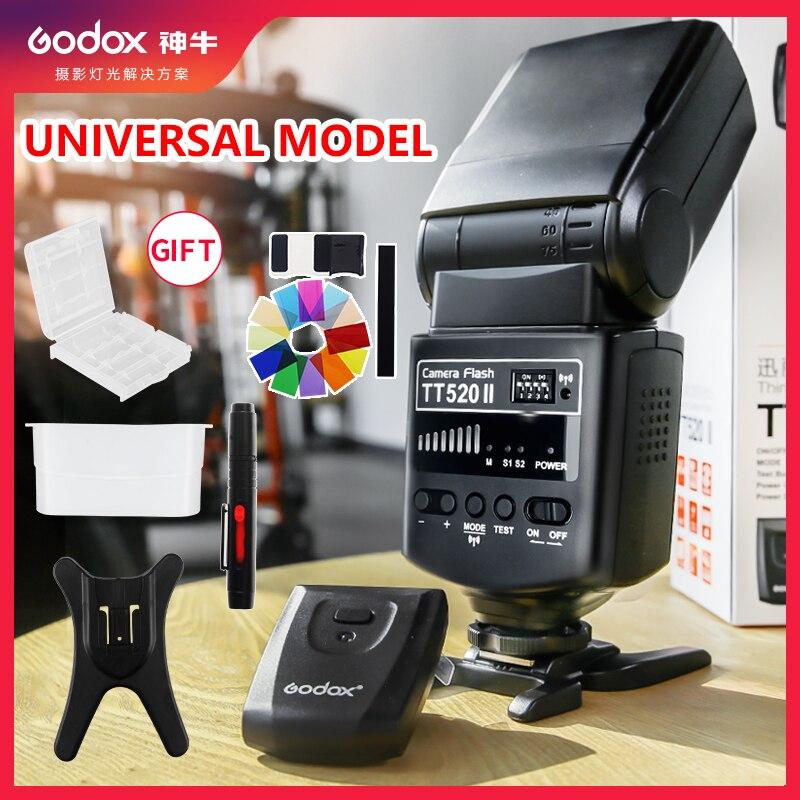 Godox TT520 II Flash TT520II avec Signal sans fil 433MHz intégré + Kit émetteur pour appareils photo reflex numériques Canon Nikon Pentax Olympus-in Clignote from Electronique    1
