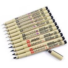 Stylo à marqueur Micron noir, 1 pièce, stylo à revêtement de Pigment, 0.05 0.1 0.2 0.3 0.4 0.5, 0.8, différentes pointes, stylo pour croquis
