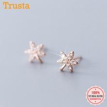 Trustdavis Fashion Jewelry 925 Sterling Silver CZ Stone Canadian Maple Leaf Stud Earrings Girls Gift Real 925 Wholesale DS2672