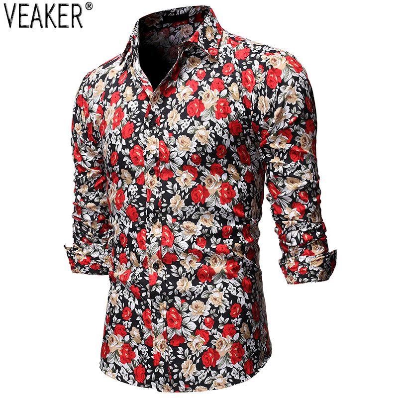 2019 Autumn New Men's Floral Printed Shirts Male Slim Fit Long Sleeve Shirt Tops Men Printed Business Casual Shirt S-2XL