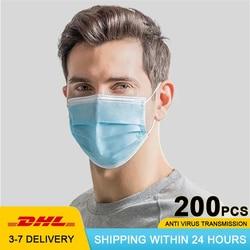 200 sztuk 3 warstwy włókniny Anti Virus medyczne usta nos Maska chirurgiczna filtr jednorazowe Maska Maska Respirator maski medico 1