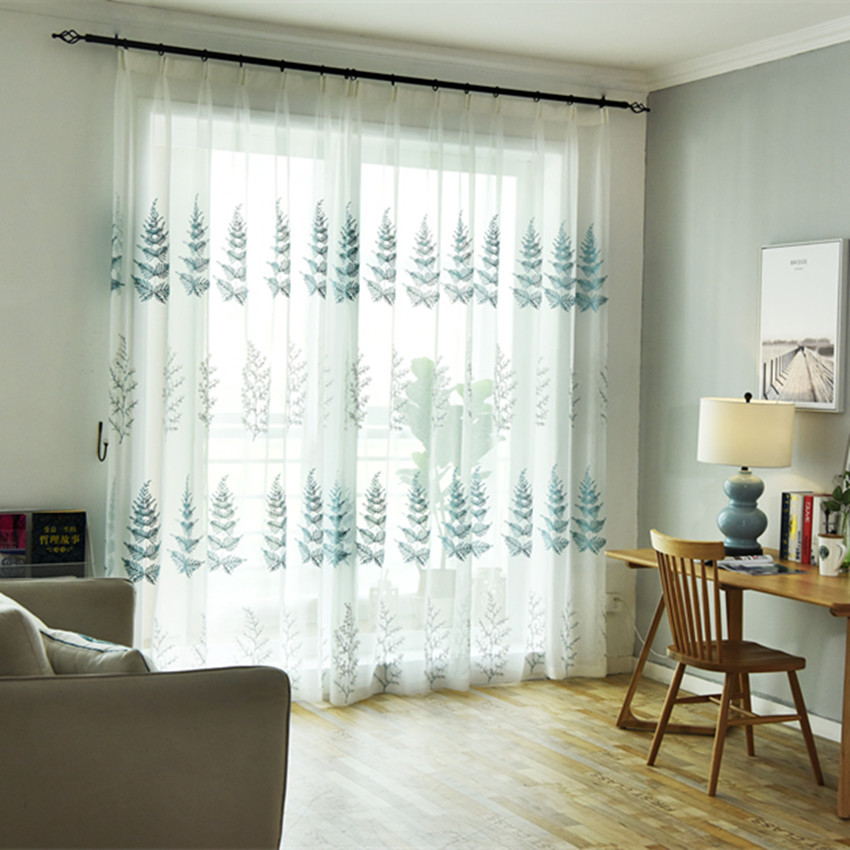 Modern European Christmas Curtain Tree Embroidered Curtains For Living Dining Room Bedroom Yarn Tulle White Curtain Cloth Yarn