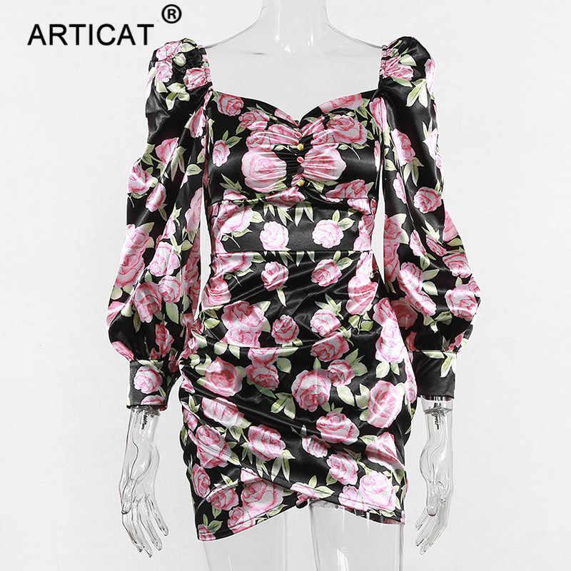 Articat цветочный принт винтажное женское облегающее платье с пышными рукавами с открытыми плечами необычное платье для вечеринки пуговицы Элегантное короткое платье для вечеринки