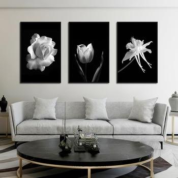 Nordic Nero Bianco Astratta Fiore In Fiore Poster Tela di canapa di Arte Della Parete di Stampa di Immagini Rosa Tulipano Pittura Scandinavo Complementi Arredo Casa