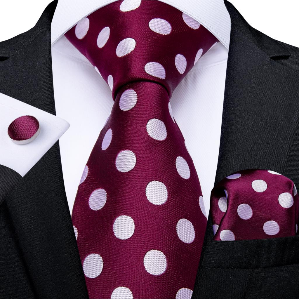 Gift Men Tie Red Wine White Dot Silk Wedding Tie For Men DiBanGu Novelty Design Hanky Cufflink Quality Men Tie Set Business 7332