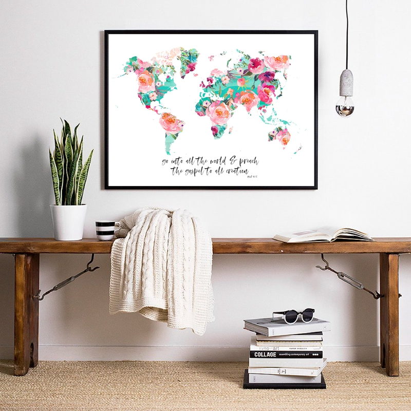 Floral World map Print