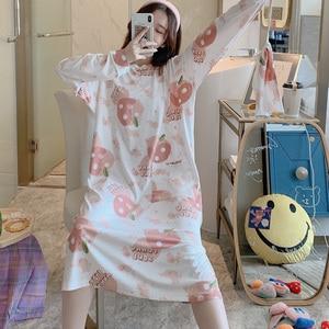 Image 2 - Caiyier zima 2020 kobiet koszula nocna z długim rękawem O Neck koronkowa koszula nocna luźna Casual Sleepshirt dziewczyna z torebka koszula nocna domowa