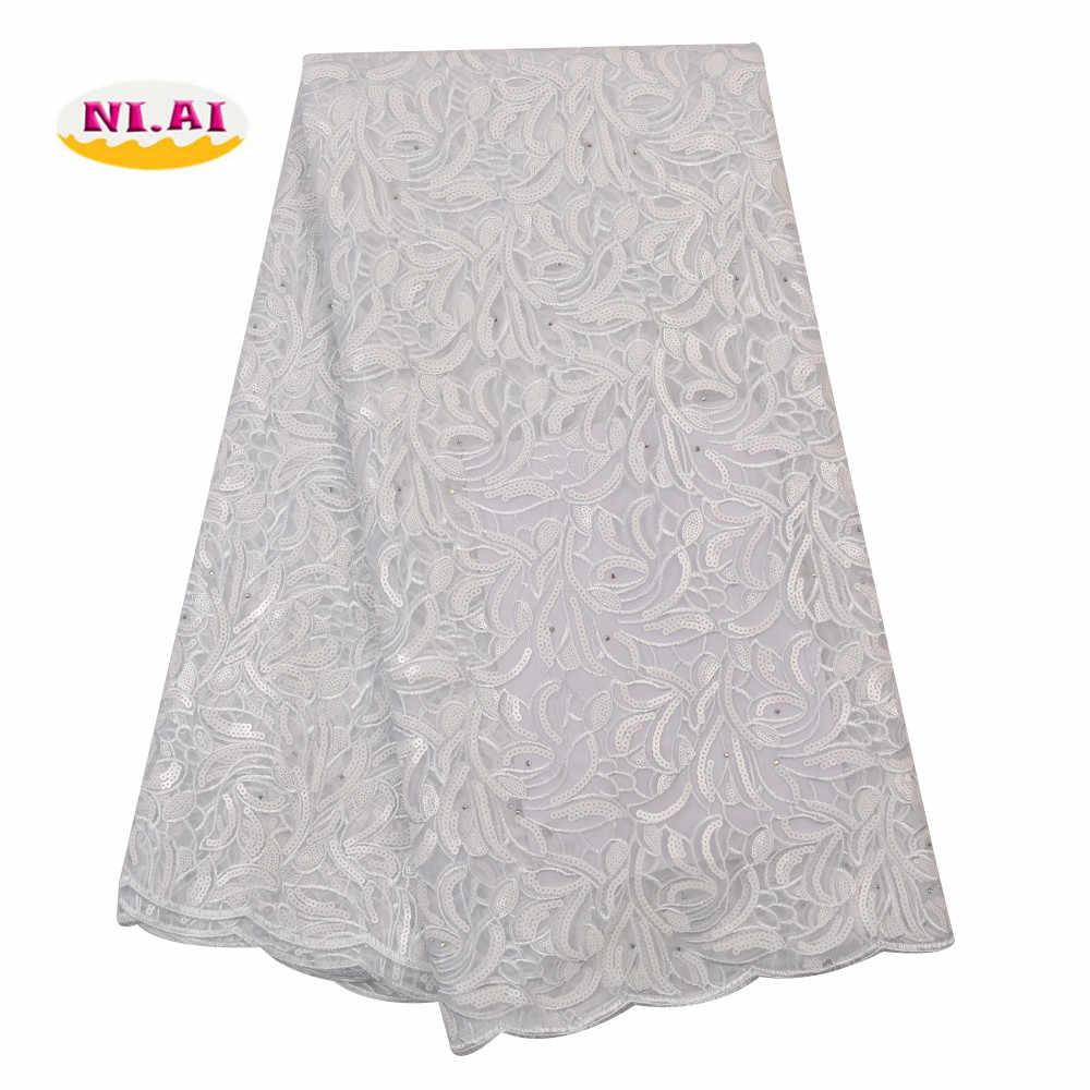 Niai azul francês lantejoulas tule tecido de renda 2020 alta qualidade tecido renda africano nigeriano malha rendas tecidos para vestido XY3072B-4