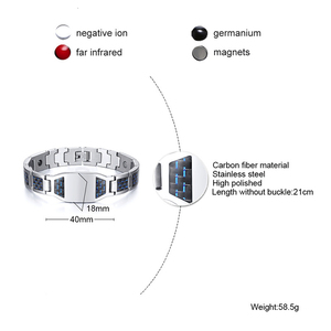 Image 2 - CARBON FIBER BRACELET FOR MEN BIO STAINLESS STEE PERSONALIZED CUSTOM BRACELETS ASSORTED STYLE GIFT FOR DAD HASBAND