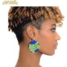 2019 New Batik Exaggerated Button Earrings with Ethnic African Prints Are Selling Well