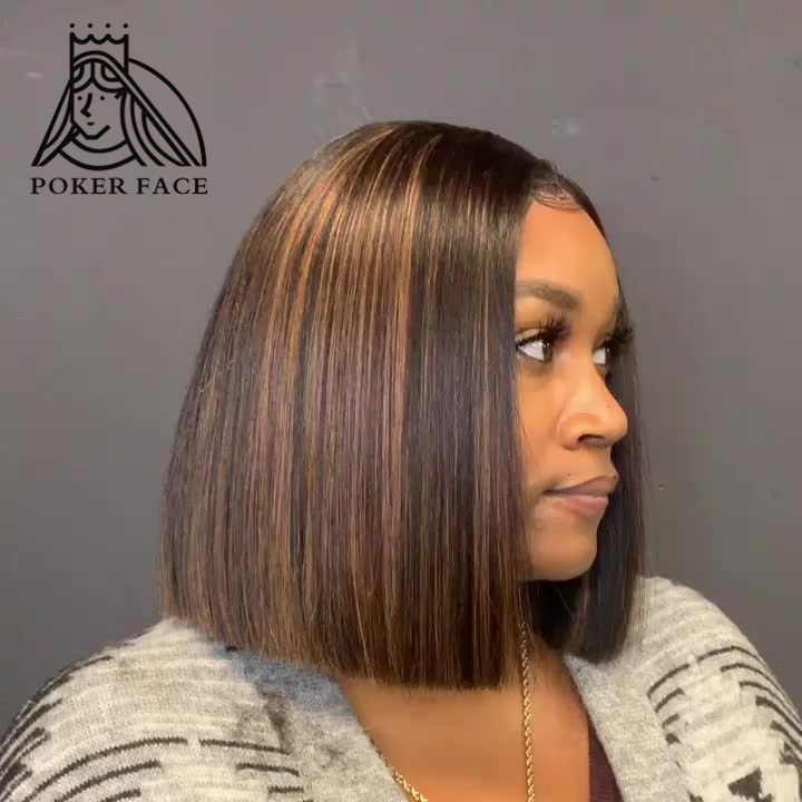 13x4 Straight Highlight Wig Ombre Brown Honey Blonde Short Bob Wig Transparent Lace Front Wigs 150% Density Remy