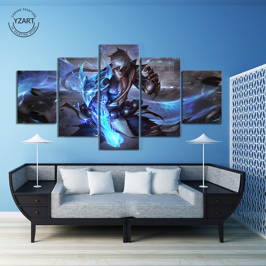 Storm Dragon Lee Sin League of Legends Game Poster Artwork Canvas Wall Art Painting for Living Room Wall Decor,Unframed