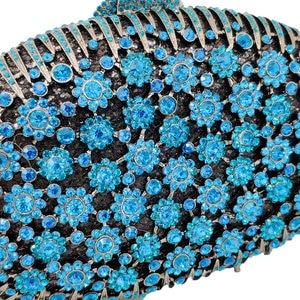 Image 5 - Boutique De FGG Pfau Blau Luxus Handtaschen Frauen Kristall Kupplung Blume Abend Taschen Hochzeit Floral Handtaschen Braut Party Geldbörse