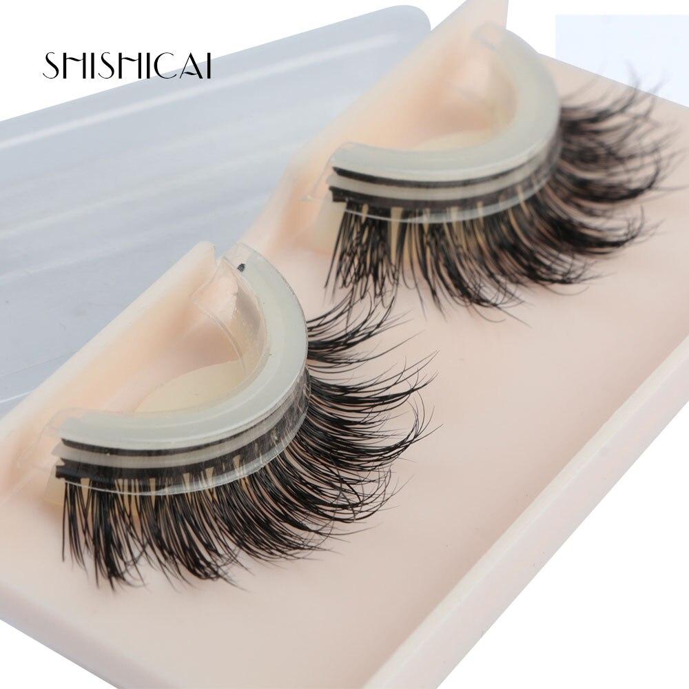 SHISHICAI Silk False Eyelashes Self Adhesive Eyelashes 100% Mink Lashes 3D No Glue Makeup Fake Lashes Extension Beauty Tools