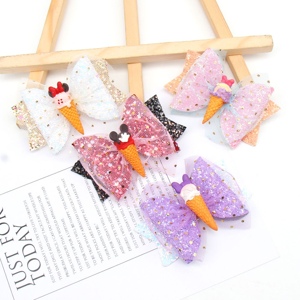 4 Pcs/Lot 3 Sparkly Hair Clips for Girls Glitter Barrettes Net Yarn Bowknot Hairpins Baby Kids Birthday Accessories