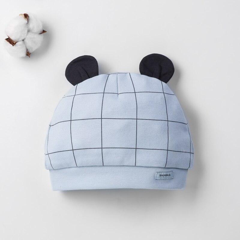Детская шапка для 0-12 месяцев, хлопок, унисекс, мягкая милая детская шапка, шапка для новорожденных мальчиков и девочек на все сезоны, Мультяшные Шапки для малышей - Цвет: Синий