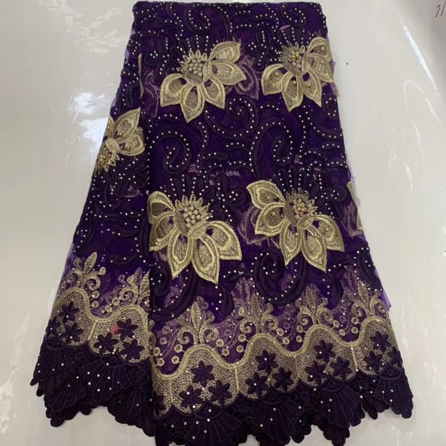 Embroidery Beaded Tulle Lace Fabric African 2019 High Quality Tissue French Lace With Stones Nigerian Lace Fabric For Wedding