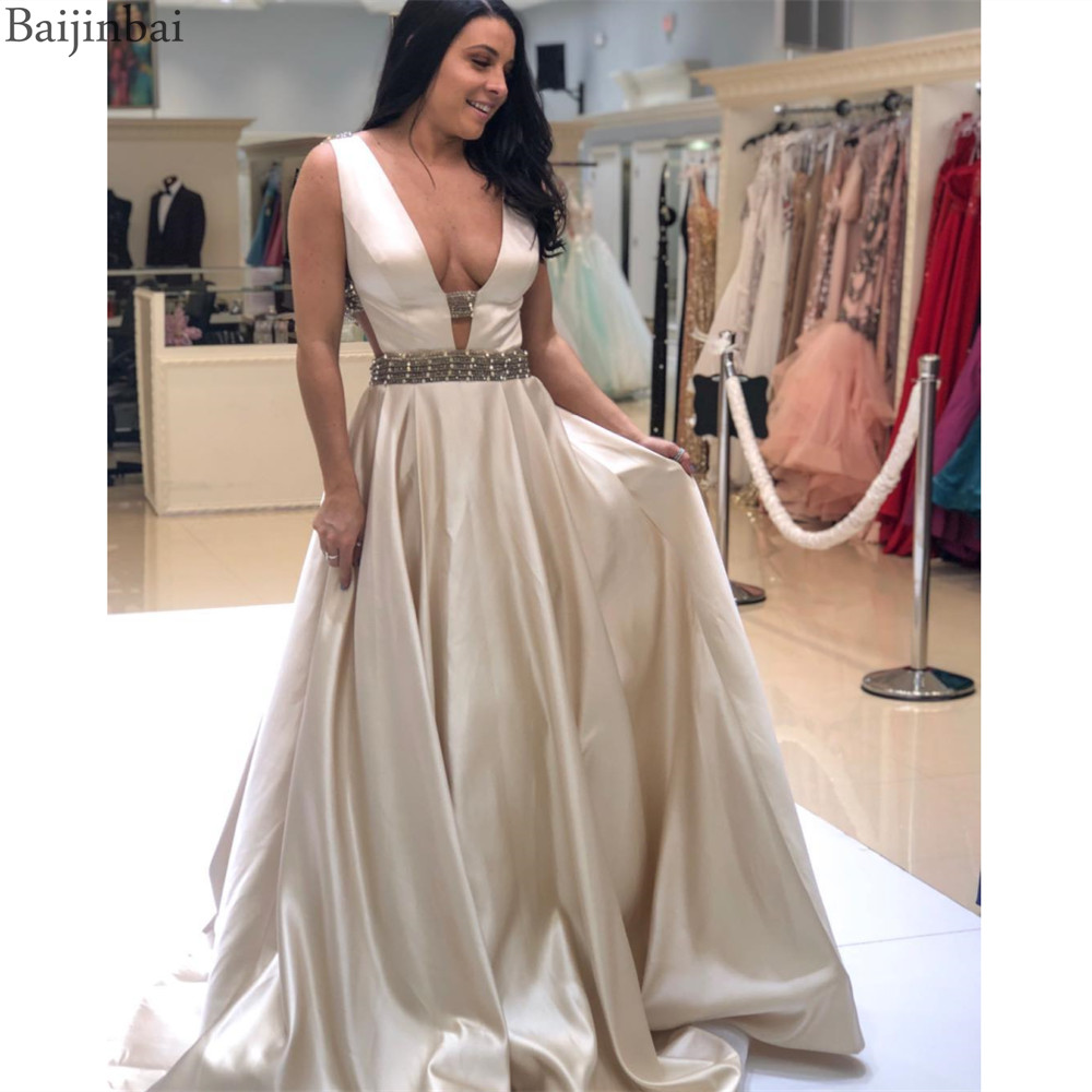 Baijinbai Gorgeous Plunge Neckline Prom Formal Dresses Satin Beaded A-line Evening Gowns Long Special Occasion Dress Backless