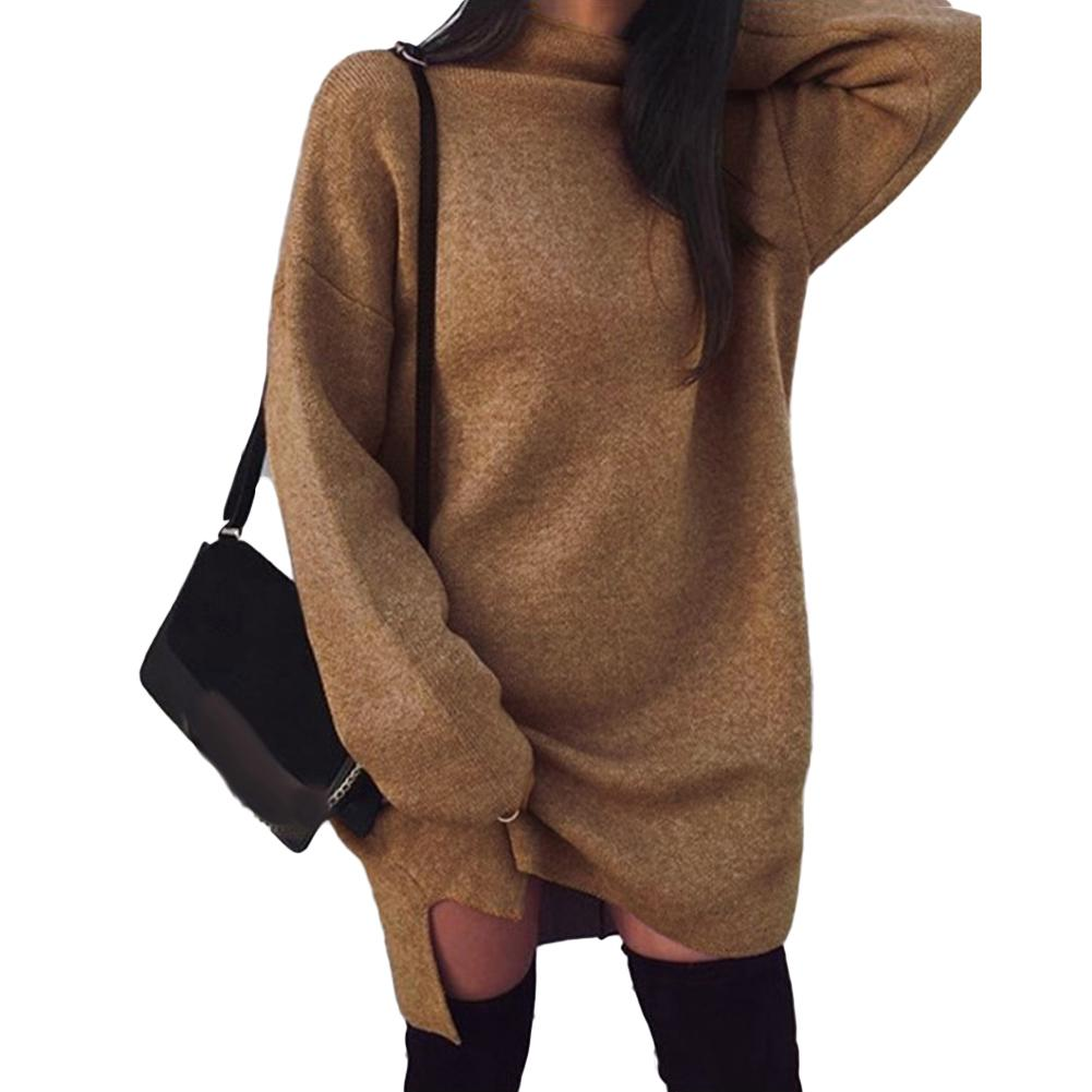 Femmes Chandail Robe Pull Tricot Couleur Unie Col Haut Manches Longues Casual