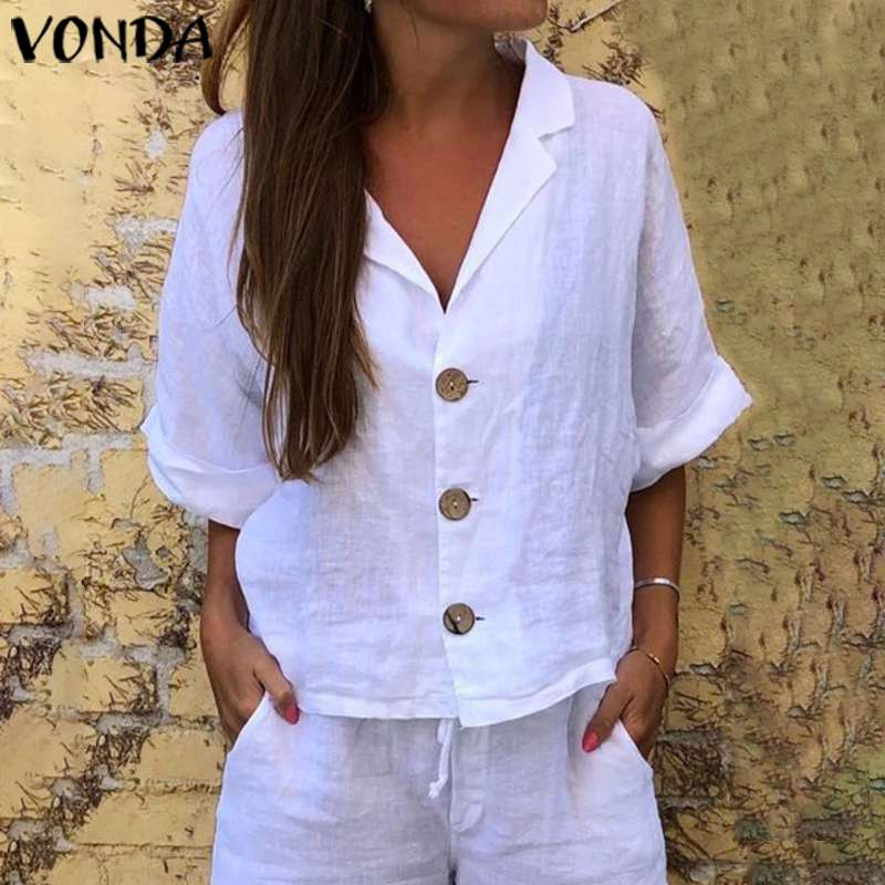 VONDA Tunic Women Tops Vintage 3/4 Sleeve Casual Loose   Blouse   2020 Summer Beach   Shirts   Bohemian Sexy Party Tops Plus Size Blusa