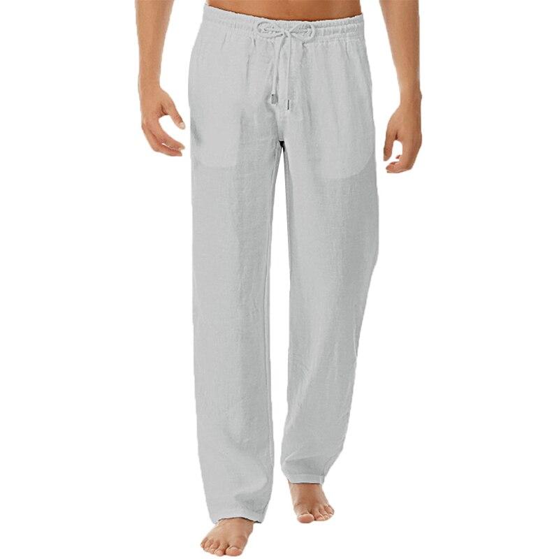 Pants Men Solid Simple Cotton Linen Pants for Men Clothing Loose Elastic Waist Casual Male Pants