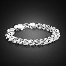 Hot sale European fashion 100% sterling silver bracelet. Solid 925 Silver 10mm 2