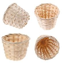 Wickerwork Basket Bamboo Weaving Storage Basket Rattan Plant Desktop Finishing Box Home Sundries Organizer Flower Pot