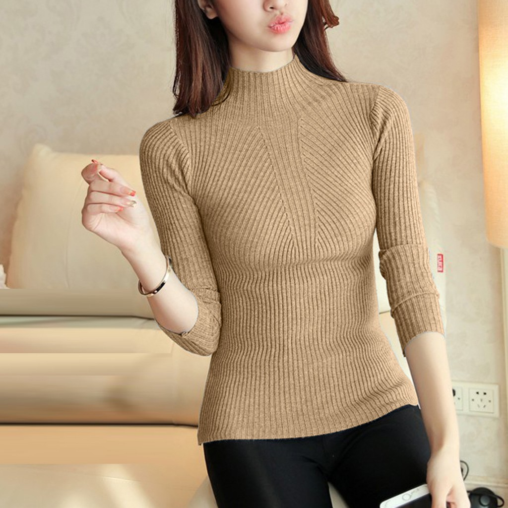 SAGACE Knitting Women Sweaters And Pullovers Slim Solid Color Slim Casual Ladies Knitted Sweater Winter New Chic Pullover