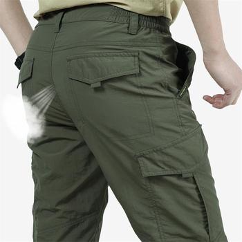Męskie lekkie spodnie taktyczne oddychające letnie dorywczo wojskowe długie spodnie wojskowe męskie wodoodporne spodnie Quick Dry Cargo tanie i dobre opinie IGLDSI Cargo pants Mieszkanie Poliester NYLON spandex Kieszenie skinny Pełnej długości Na co dzień Suknem Zipper fly