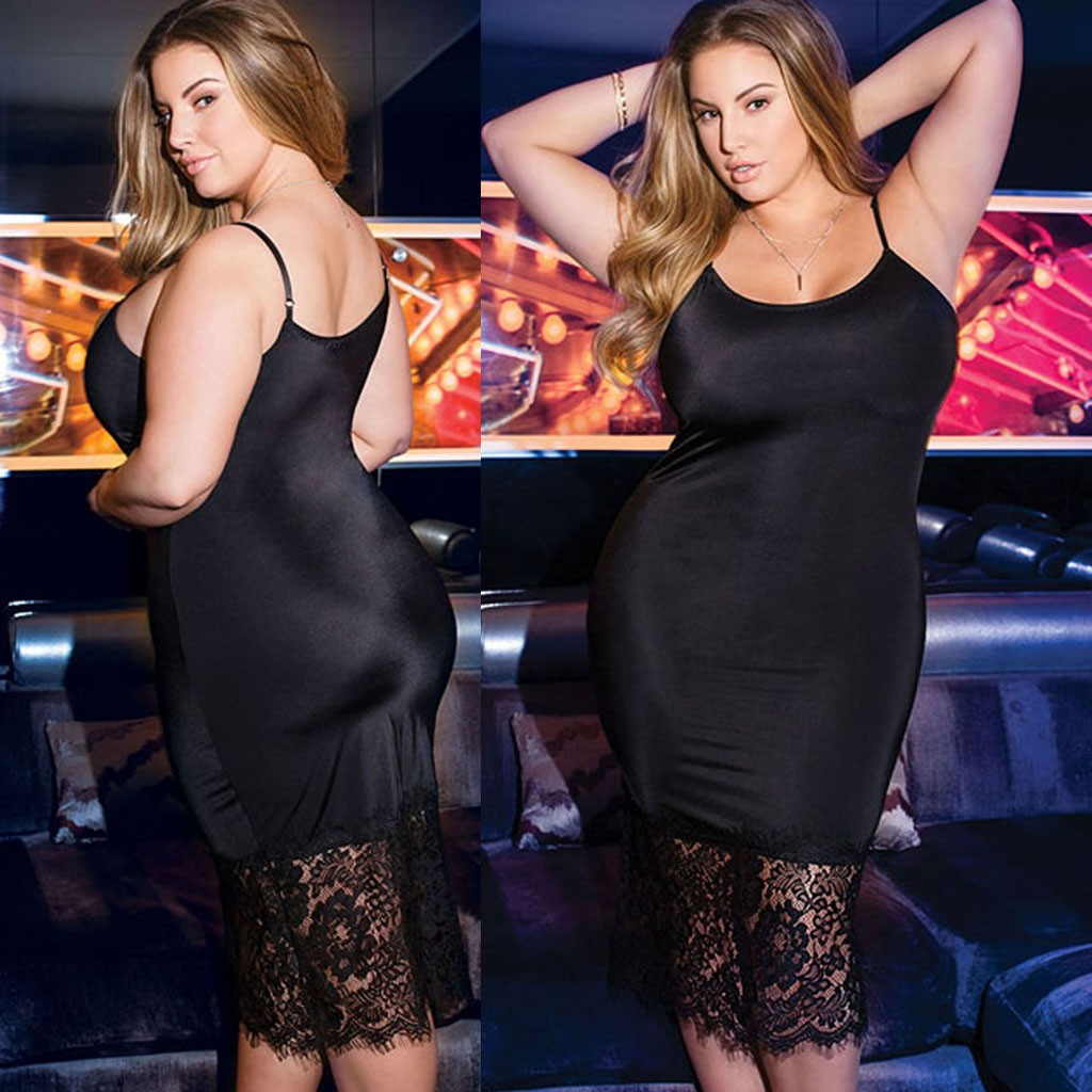 Lace Lingerie Women Plus Size Bandage Babydoll Women Sexy Underwear Lingerie Black Nightdress Chemise De Nuit Femme For 3XL-5XL