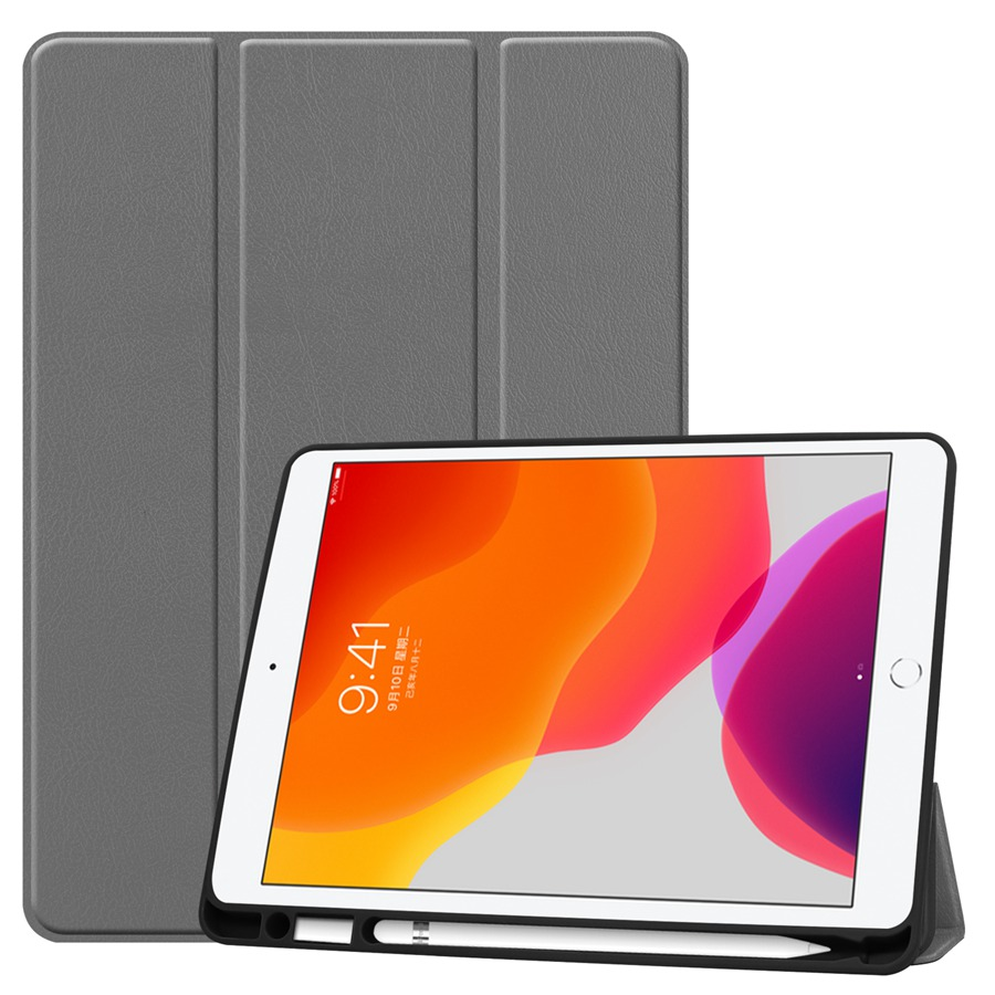 grey Brown Slim Smart PU Leather Case For Apple iPad 10 2 2019 with Pencil Holder Cover For