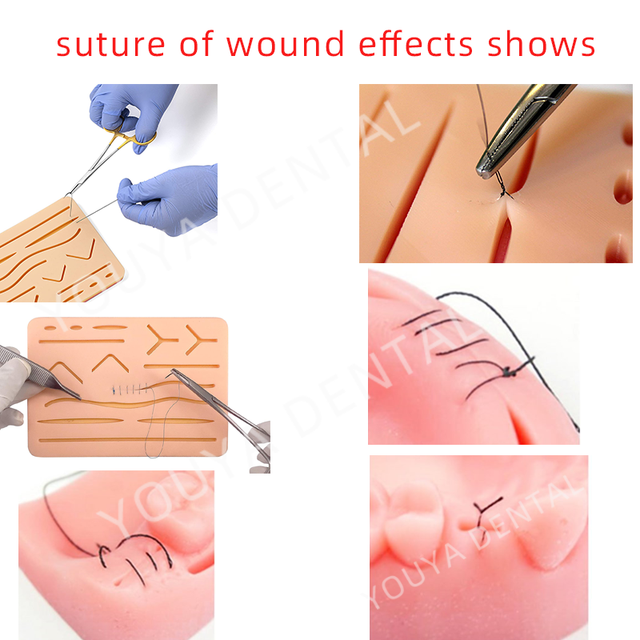 Surgical Skin- Dental Oral Suture Training Module Kit Portable Silicone Pad-Threads And Needle-Stainless Tool Medical Model