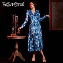 TWOTWINSTYLE 인쇄 불규칙한 여성의 드레스 V 목 퍼프 긴 소매 높은 Wsit Ruched 드레스 여성 2020 패션 의류 새로운