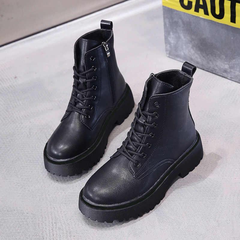 Kadın botları için yeni deri Martin çizmeler bayanlar süet platformu kış çizmeler kadın yarım çizmeler kadın kış ayakkabı kadın patik