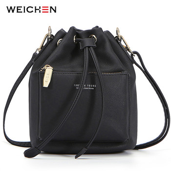 WEICHEN Fashion Bucket Shoulder Bag Women Drawstring Crossbody Bag Female Messenger Bags Ladies Synthetic Leather Handbag Sac fashion woman bag leather crossbody bags for women messenger bags female shoulder handbag crossbody bags for women sac femme