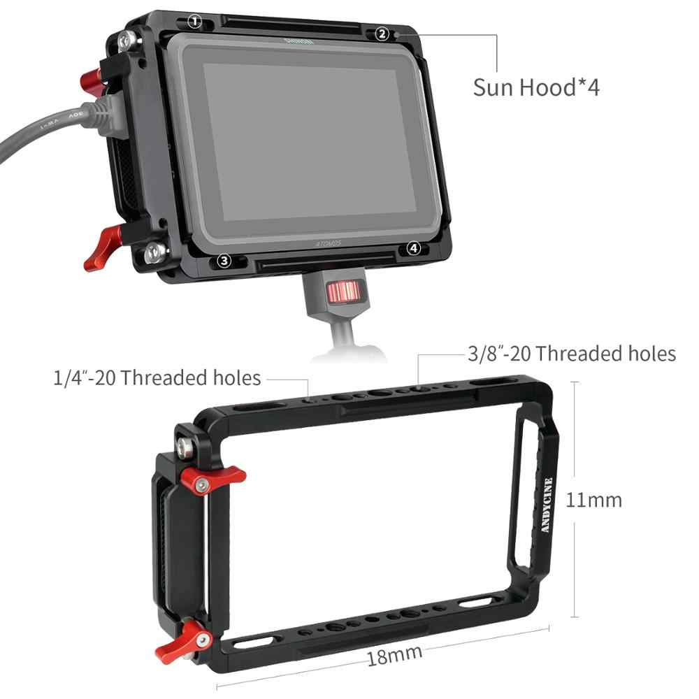 Monitor de jaula Andycine con carril incorporado de la OTAN y abrazadera de Cable Extra HDMI, parasol para Monitor de Atomos Ninja V y Shinobi