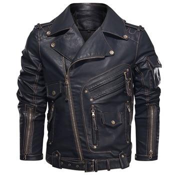 Winter Mens Leather Jacket Men Fashion Motorcycle PU Leather Jacket Cool Zipper Pockets Leather Coats EU Size men s contrast color stitching pu leather jacket khaki size xl