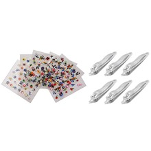 6 Pcs Slanted Tip Metal Pedicure Nail Clipper Cutter & 10 Sheets 3D Nail Art Flowers Nail Stickers Heart Star Tattoos(China)