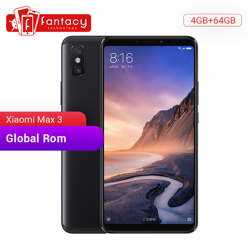 "Global ROM Xiaomi Mi Max 3 4GB 64GB 6.9"" Full Screen Snapdragon 636 Octa Core 5500mAh QC 3.0 12MP+5MP Dual Camera Smartphone"